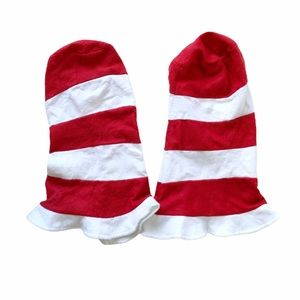 Accessories - Set 2 Santa Elf Stripe Felt Hats Costume Red White